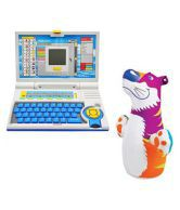 Slick 20 Activities Kids English Learning Laptop And Intex Hit Me Bob For Kids( Multicolour)