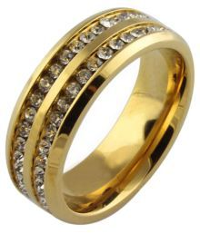 Magic Stones 18 Kt Gold Colour Spark Ring