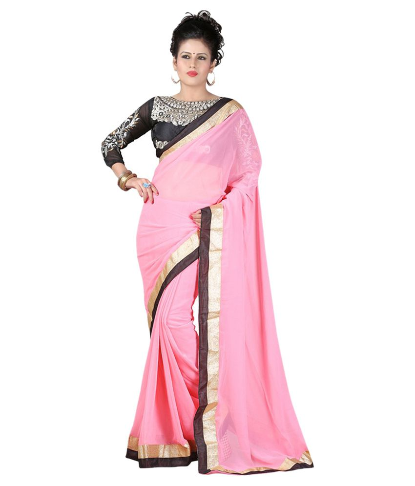 Onlinefayda Pink Faux Chiffon Saree  available at snapdeal for Rs.556