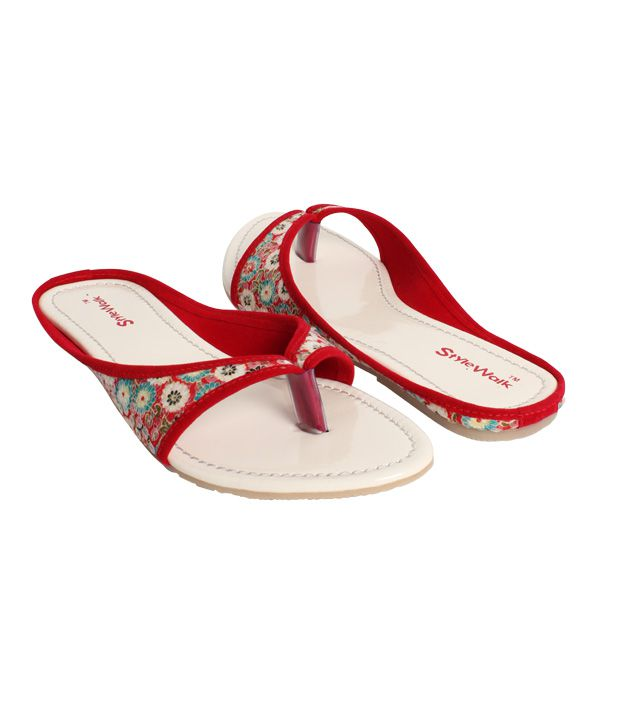 Stylewalk Red Stylish Sequined Slippers