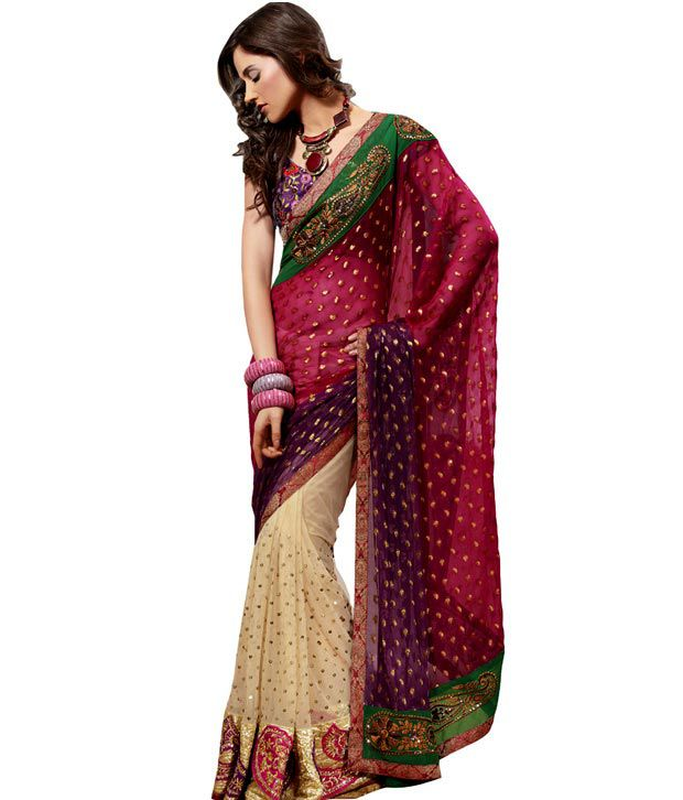 Cream-Red Net Saree With  Unstitched Blouse.