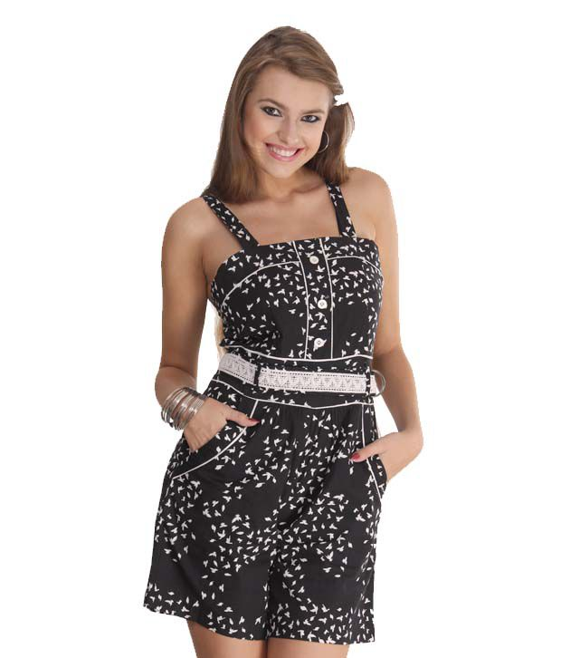 Latin Quarters Mesmerizing Black-White Playsuit