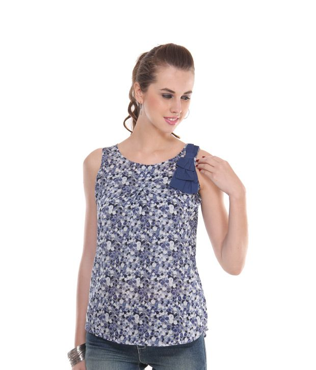 Style Quotient Blue Poly Cotton Tops