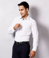 Mark Taylor Smart White Striped Shirt