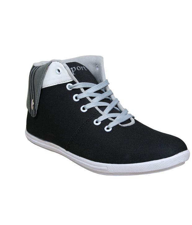 Sukun Long Tich Style Black & Grey Casual Shoes