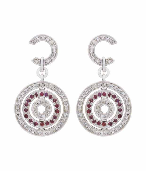 Mehrasons Diamond Concentric Studded Earrings