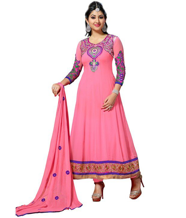 Florence Pink Embroidered Pure Georgette  Dress Material