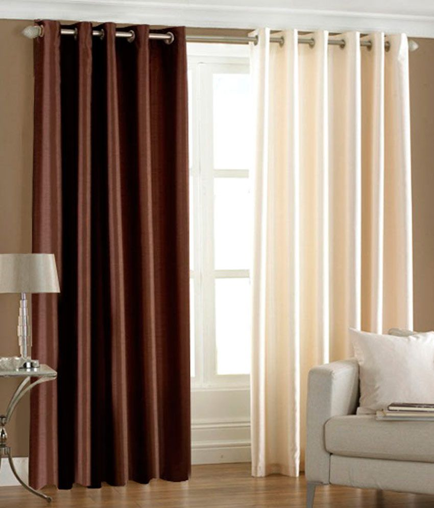 Flano Set Of 2 8 Ft Plain Eyelet Curtain Brown Cream