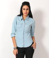 Luv Valentina Blue Solids Poly Georgette Full Regular Collar Shirts