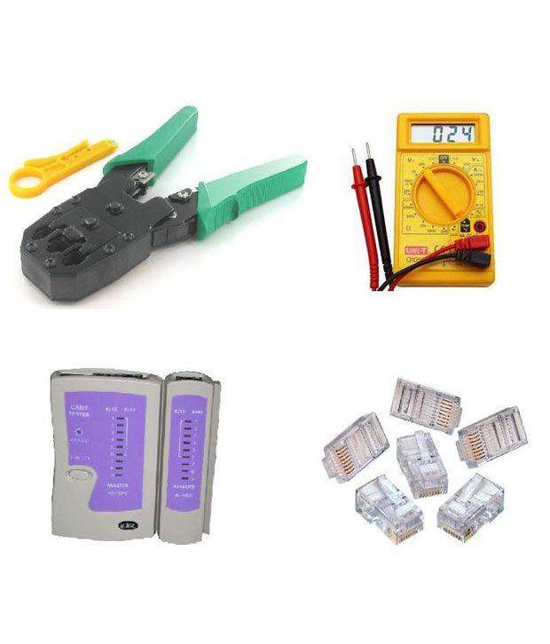 Peradot Combo Offer Crimper + Lan Tester + Digital Multimeter + 20 Rj 45 Lan Pins