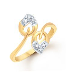 Vk Jewels Gold American Diamond Contemporary Ring