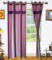 Dekor World Purple & Pink Stripes Polyester Eyelet Curtain Set 2 Pcs