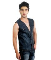 Ripfly Carbon Black Denim Sleeveless Jacket For Men