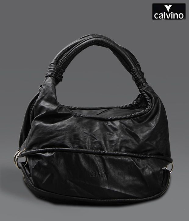 Calvino Black Matt Finish Handbag
