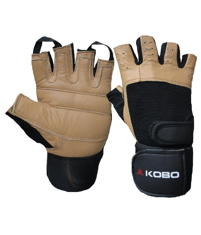 Buy leather hand gloves online india - Kobo Weight Training Gloves Wtg 02 Leather Brown Black Imported