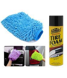 Speedwav Car Cleaning Kit Formula 1 Tyre Foam Shiner With Microfiber Glove