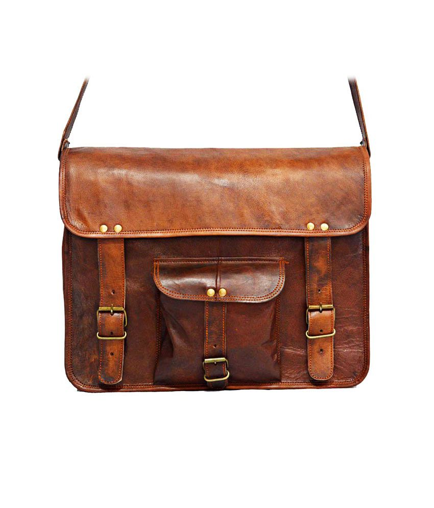 Digital Rajasthan Brown Leather Laptop Bag