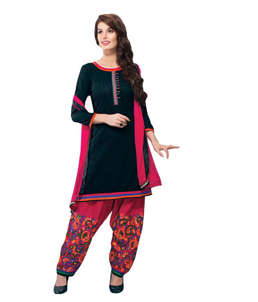Salwar Studio Black And Pink Unstitched Churidar Kameez With Dupatta  available at snapdeal for Rs.5425