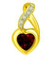 Surat Diamond Heart Garnet & Diamond Two Tone Love Pendant For Her
