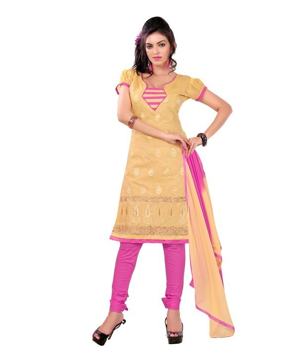 Fabdeal Cream Colored Chandari Jacquard Embroidered Dress Material