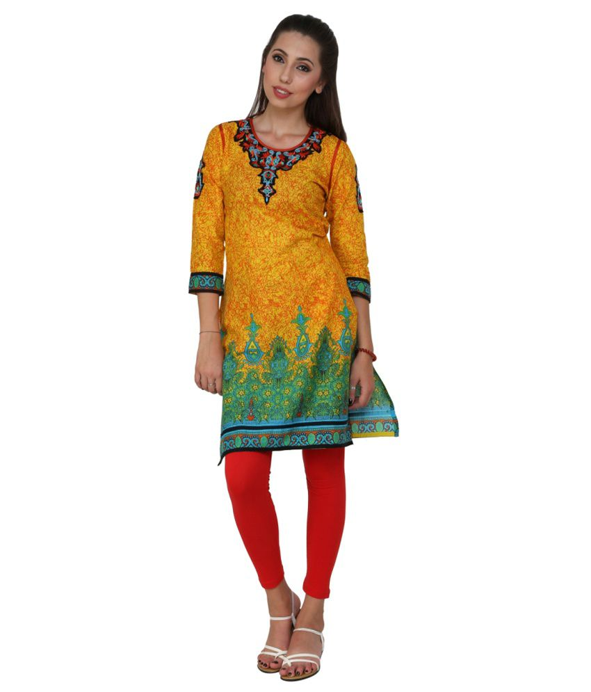 Attire By Kapsons Yellow Printed Cotton 3/4 Sleeves Kurti  available at snapdeal for Rs.235