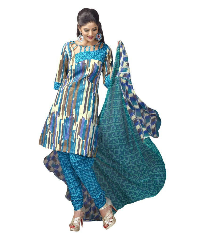 Salwar Studio Blue & Fawn Cotton Unstitched Churidar Kameez With Dupatta- Km-12017  available at snapdeal for Rs.3455