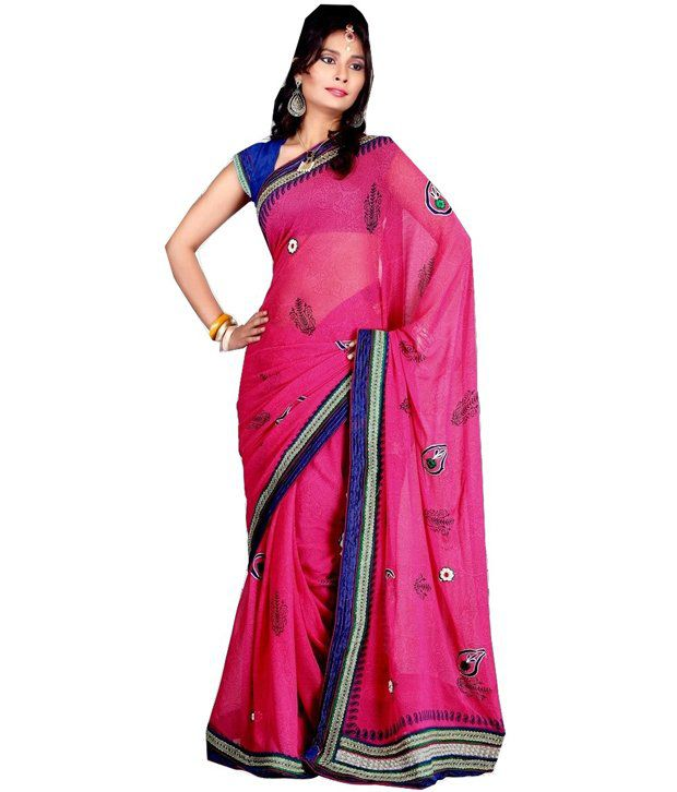 Marvel Smile Fashion Marvelous Rani Pink Color Contrast Border Graceful Marvel Chiffon Saree With Blouse (Multicolor)