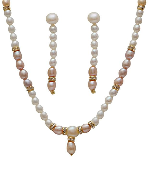 Classique Designer Jewellery Alluring White & Peach Pearl Necklace Set  available at snapdeal for Rs.401