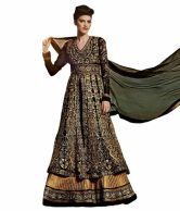 Kanheyas Black Pure Georgette Embroidered Anarkali Dress Material