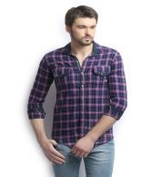 Raw Orange Purple 100 Percent Cotton Casual Shirt