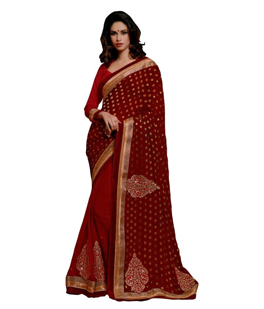 Lifestyle Life Style Red Wedding Collection Saree With Blouse Piece
