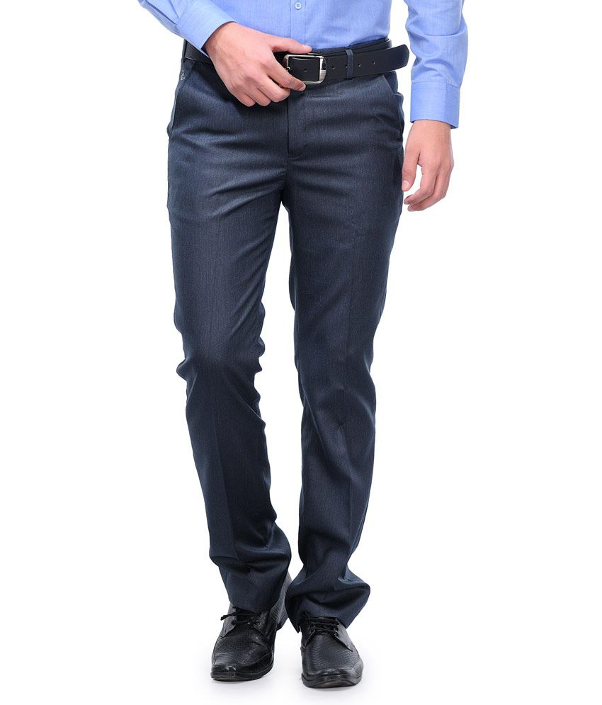 Canary London Navy Cotton Blend Slim Fit Pleated Trouser  available at snapdeal for Rs.329