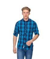 Rigs & Rags Blue Cotton Blend Full Sleeves Slim Fit Casual Shirt