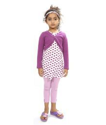 Bio Kid Purple Cotton Full Length Dress - 4 Pcs Set