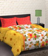 Home Expressions USA Summer Floral Printed Yellow & Green Double Bedsheet With 2 Pillow Covers