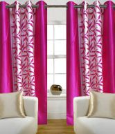 Home Sazz Pink Leaves Fancy Long Door Curtains Set Of 2 (10 Feet )