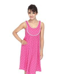 Citypret Pink Printed Cotton Medium Nighty