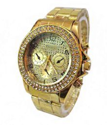 Paidu Stone Studded Gold Theme Stainless Steel Wrist Watch For Women