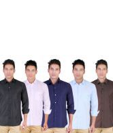 Yuva Combo Of 5 Casual Cotton Shirts Black, White, Navy, Sky Blue And Brown