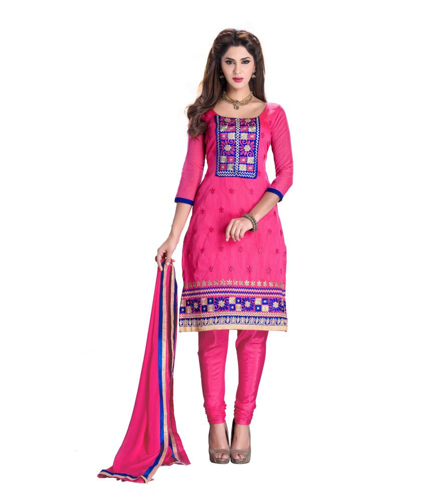 8689d0f5ea3 58% OFF on Blissta Pink Chanderi Embroidered Salwar Suit Dress Material on  Snapdeal