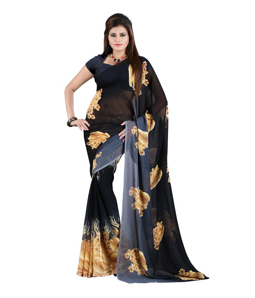 Heena Beige Faux Georgette Printed Saree Without Blouse Piece  available at snapdeal for Rs.399