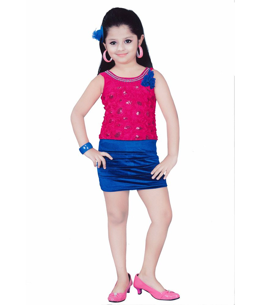Kids Mini Pink Velvet Short Sleeveless Party Wear Frock  available at snapdeal for Rs.1245