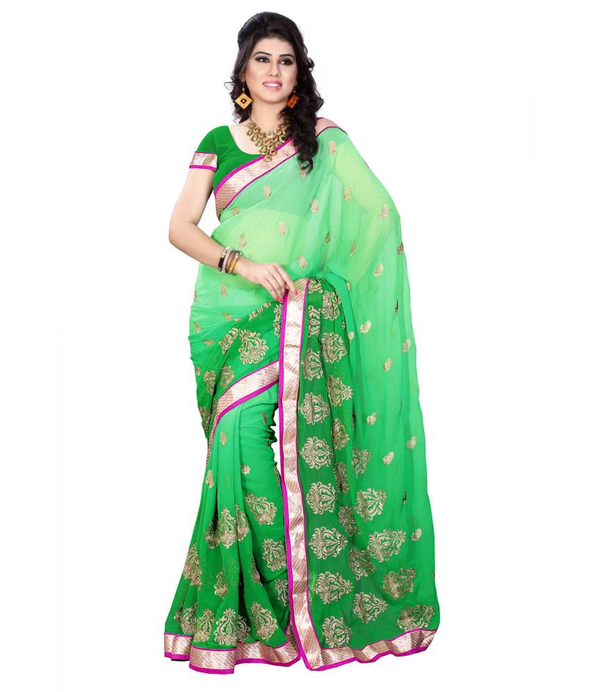 Diva Fashion Green Faux Georgette Saree Buy Diva Fashion
