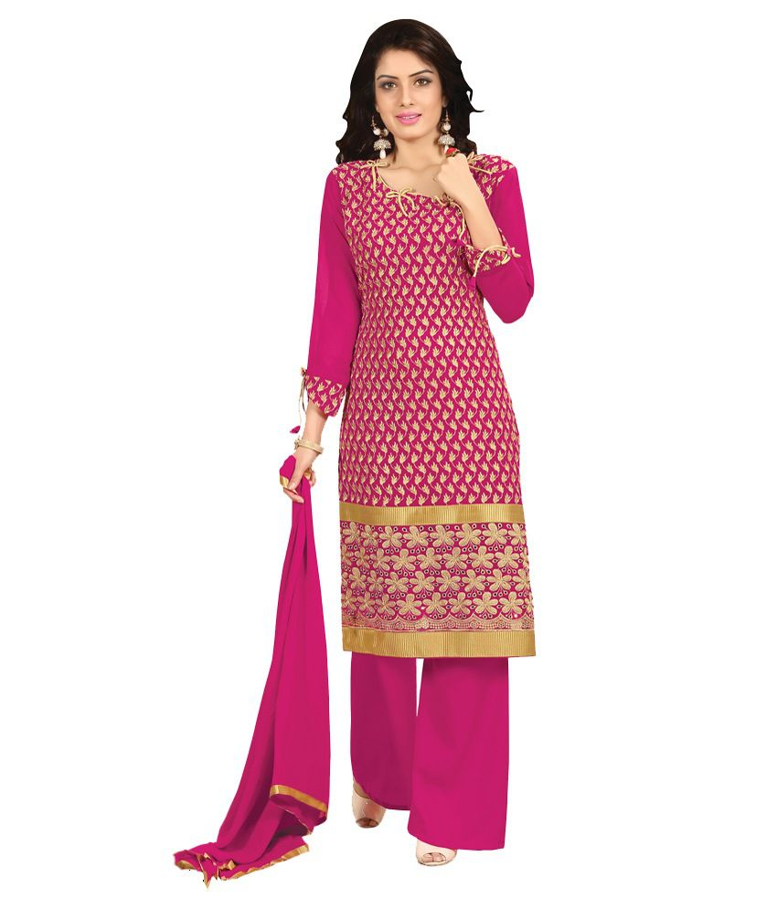 Manthan Dark Pink Embroidered Un-stitched Straight Suit Mnt2rha1010 Manthan Dark Pink Pure Georgette Unstitched  available at snapdeal for Rs.1013