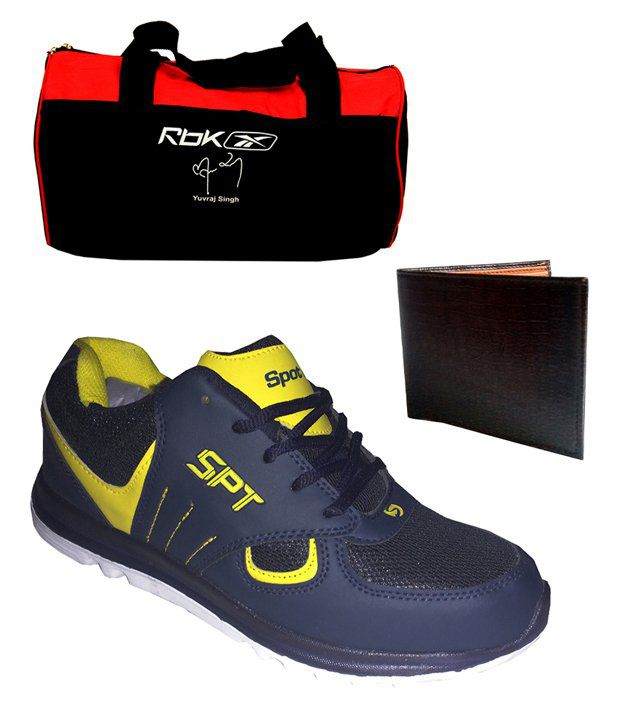 Spot On Men's Sport Running Shoes Reebok Gym Bag And Wallet Combo  available at snapdeal for Rs.859