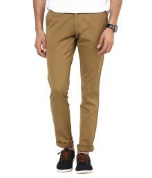 Bukkl Khaki Slim Fit Casual Chinos