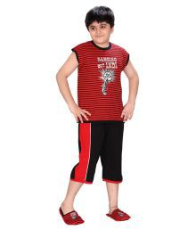 Pink & Red Red & Black T-shirt & Capri For Boys