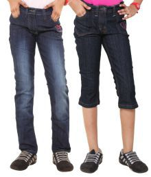 Menthol Blue Denim Jeans With Capri For Girls - Set Of 2