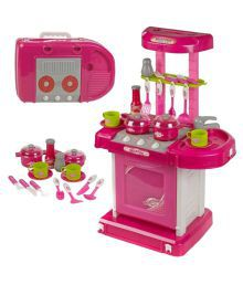 Saurabh Import Pink And White Plastic Kitchen Set
