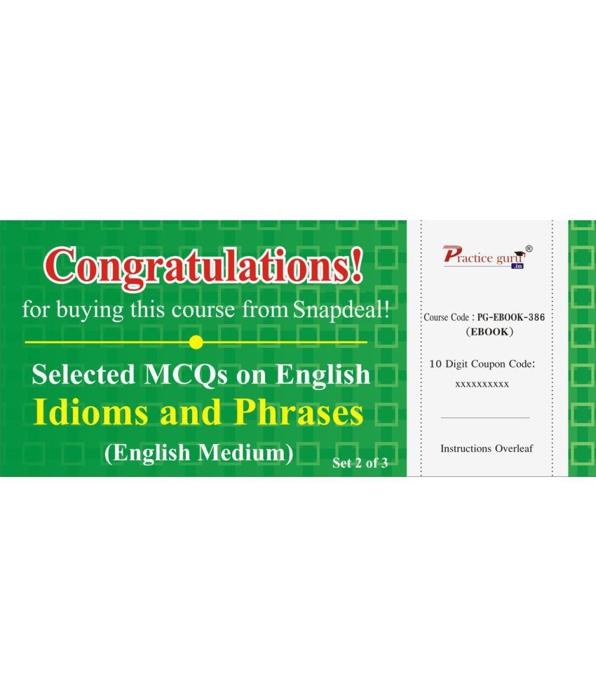 Selected Mcqs On English - Idioms And Phrases Set 2 Of 3 License/redemption Code - Online  available at snapdeal for Rs.99